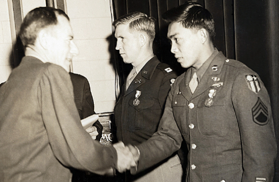 Brig Gen John Magruder, left, deputy director of the Office of Strategic Services, presents Dick Hamada the Soldier's Medal on Jan. 3, 1946, in Washington, D.C., for Hamada's role in Operation Magpie. (Photos courtesy of