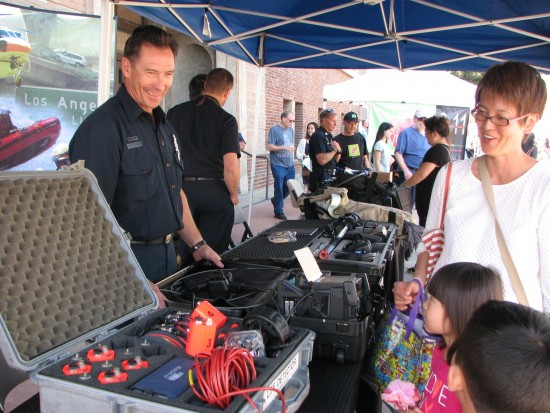The Los Angeles County Fire Department displayed search and rescue equipment, including a life detector.