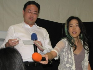 Siblings George Kiriyama and Traci Kato-Kiriyama co-emceed a public event for the first time. (J.K. YAMAMOTO/Rafu Shimpo)