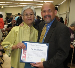 On behalf of Rep. Maxine Waters, Hamilton Cloud presented a proclamation to Satsuki Ina.