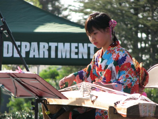 "Ten-year-old Emily Kinaga Wong played ""Sakura Sakura"" on the koto."