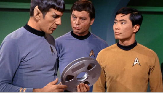 "Leonard Nimoy, DeForest Kelley and George Takei in a scene from the original ""Star Trek"" series."