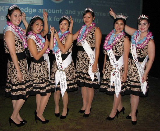 The Nisei Week Court will be there this Saturday at the Nisei Week Luau at Nishi Hongwanji. (Rafu Shimpo photo)