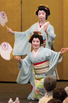 "Fujima Kansumi (Ann Yoshihara) and Fujima Kansue (Betsy Tango) perform the ""Shamisen Boogie Woogie"""