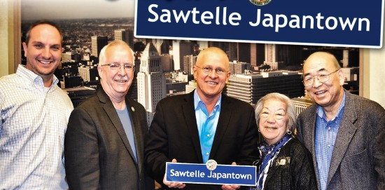 From left: Greg Ericksen, outreach chair, and Jay Handal, chair, of the West L.A.-Sawtelle Neighborhood Council; Councilmember Mike Bonin; Jean Shigematsu, West L.A. JACL vice president and West L.A.-Sawtelle Neighborhood Council board member; Randy Sakamoto, local historian and member of Sawtelle Japantown Association.