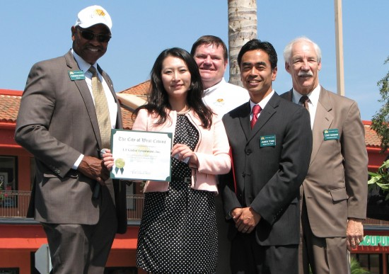 From left: West Covina Mayor Fredrick Sykes, Wei Huang of LT Global Investment, City Councilmember Mike Spence, Mayor Pro Tem James Toma, and City Councilmember