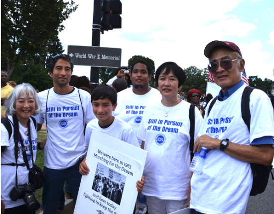 "Todd Endo and his family were in Washington, D.C. in 2013 for the 50th anniversary of the March on Washington and Martin Luther King's ""I Have a Dream"" speech. From right: Todd Endo, sister Marsha Johnson, nephew Greg Johnson, grandson Aidan Endo, son Erik Endo, and wife Paula Endo. (Courtesy of Todd Endo via Emil Guillermo Media, www.amok.com)"