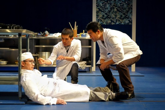 "Eddie Mui, Lawrence Kao and Ryun Yu in a scene from ""tokyo fish story."" (Photo by"
