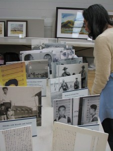 A photo display told the story of Satsuki Ina's parents. Her father was sent to a Department of Justice camp in Bismarck, N.D., and the rest of the family was sent to the Tule Lake Segregation Center.