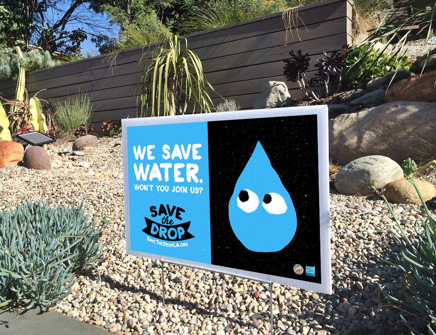 LA市で節水を呼び掛けるキャンペーン「Save the Drop」のポスター