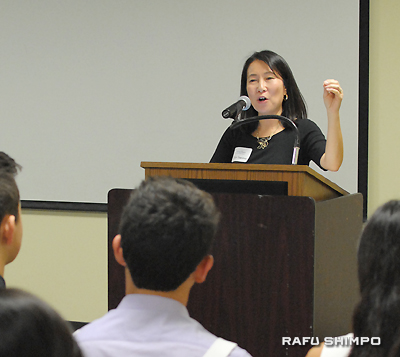 Erika Yamasaki, keynote speaker, reminded the students not to forget where they came from.