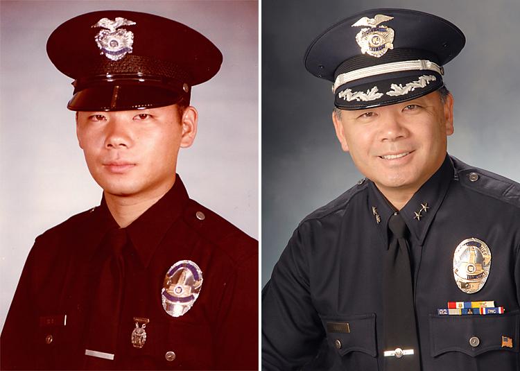 1980年に警察学校を卒業し、警官として駆け出したばかりのハラ氏(写真左)。アジア系として最高位に昇格した時のテリー・ハラ副本部長(同右)