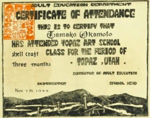 Certificate of attendance from a school at the Topaz, Utah camp, 1944. (From the collection of Allen H. Eaton)