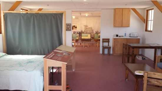 This display shows barracks interior after some improvements were made.