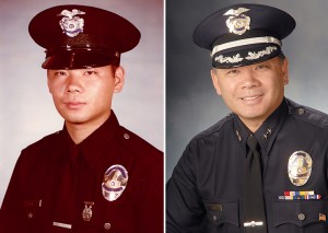 These LAPD photos show Terry Hara as an academy graduate in 1980 and as deputy chief.