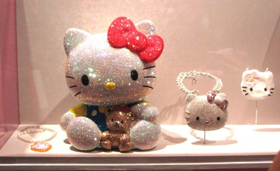 Hello Kitty bling at the JANM exhibition. (J.K. YAMAMOTO/Rafu Shimpo)
