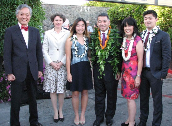 From left: Consul General Harry Horinouchi and his wife Sabine; Kimberly, Terry, Gayle and Mike Hara.