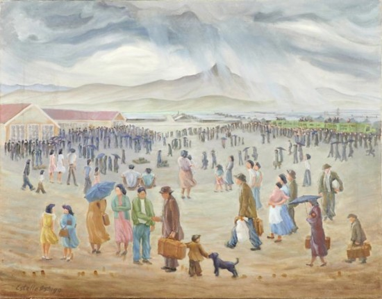"A painting by Estelle Peck Ishigo from the collection of Allen H. Eaton. ""Disloyal"" Japanese Americans leave Heart Mountain, Wyo. for Tule Lake Segregation Center in California on Sept. 21, 1943."