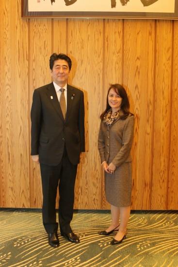 Prime Minister Shinzo Abe and Linda Taira.