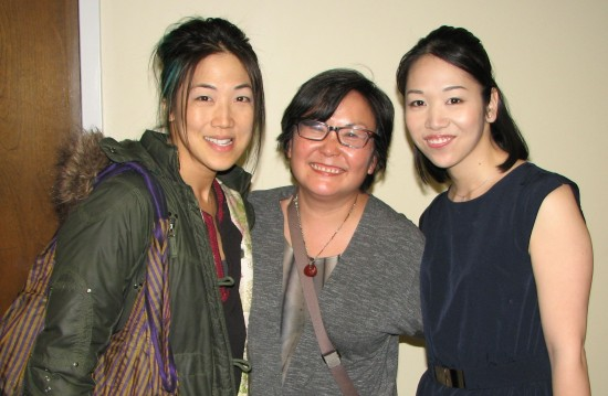 From left: Judge and reader Traci Kato-Kiriyama, committee member Naomi Hirahara, reader Megumi Anjo.