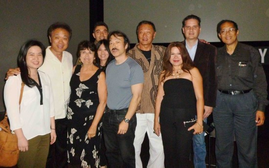 At the March 26 JANM screening: Yvonne Nguyen, Gerald Ishibashi, Louisa Caucia, Imad Jamal, Sherry Yen, Guy Aoki, Cary-Hiroyuki Tagawa, unknown, producer Mark Joseph, and Wilki Tom.