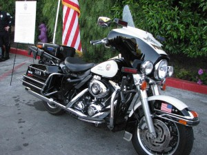 Terry Hara's 2007 Harley Davidson motorcycle, which will be taken out of service and placed in the LAPD Museum at Northeast Division.