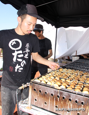 Above and below: Japanese dishes included takoyaki (octopus balls) from Tanota.