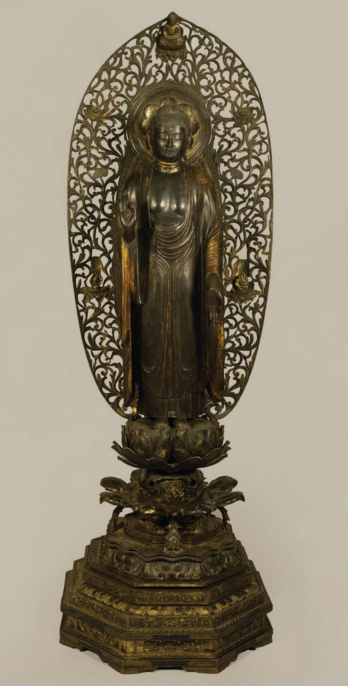 Amida Buddha, Japan, Kamakura Period (1185-1333): First half of the 13th century, wood, lacquer, gilt and pigments, gift of Sharon Pierce in loving memory of her son, J. Christopher Johnson. Conservation funds provided by Sharon Pierce and the Collectors' Circle, 2013.6.1.Graphic Art, Buddhist Iconography at Pacific Asia Museum.