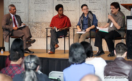 From left: Moderator Curtiss Takada Rooks and panelists Povi-Tamu Bryant, Rey Fukuda and Mike Murase.