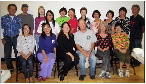 Writers of the Sansei Stories workshop. Top row, from left: Kei Sakita, Nick Nagatani, Debbie Mochidone, Kathryn Endo-Roberts, Yoshie Sakai, Beverly Toyama, Rosie Sato, Patti Dozen, Pat Takayama, Sanaye Furukawa, Hideki Obayashi. Botttom row, from left: Janet Mitsui Brown, Genie Nakano, Naomi Yoshida, Tim Toyama, Marilynn Olsen, Reiko Shibasaki.