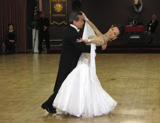 David Shinjo and longtime partner Gira Nakamoto performed the international waltz and international foxtrot during the teacher-student showcase.