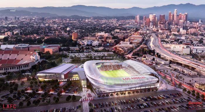 エクスポパークにあるロサンゼルス・メモリアル・スポーツアリーナに建設が予定されているLAFCのスタジアム完成予想図(写真=LAFC提供)