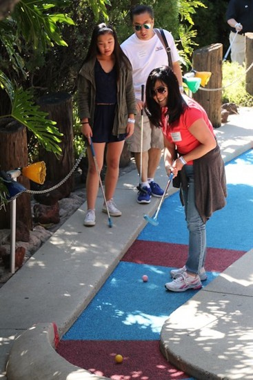 The Kikkawa family supports the Rising Stars Miniature Golf Tournament. Kendall, a RS 12 participant, is a sophomore at Flintridge Preparatory School in La Canada Flintridge.  (Photo by: Kaitlyn Chu)