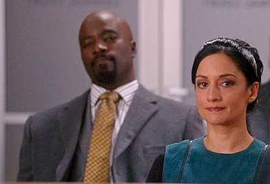 "Kalinda Sharma (Archie Panjabi) and Lemond Bishop (Mike Colter) in ""The Good Wife."""