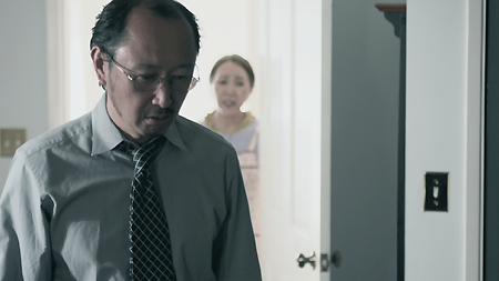 "Isamu's frustrated father and concerned grandmother in a scene from ""American Hikikomori."" (Photo courtesy of Landis Stokes)"
