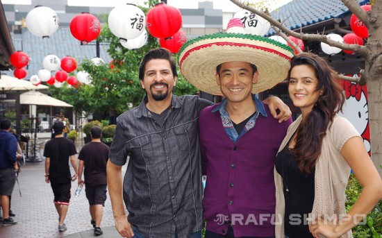 On Cinco de Mayo, Takeuchi was sporting a large sombrero in Little Tokyo, as he as Torres, along with director Anthony Lucero, were promoting the film. (MIKEY HIRANO CULROSS/Rafu Shimpo)