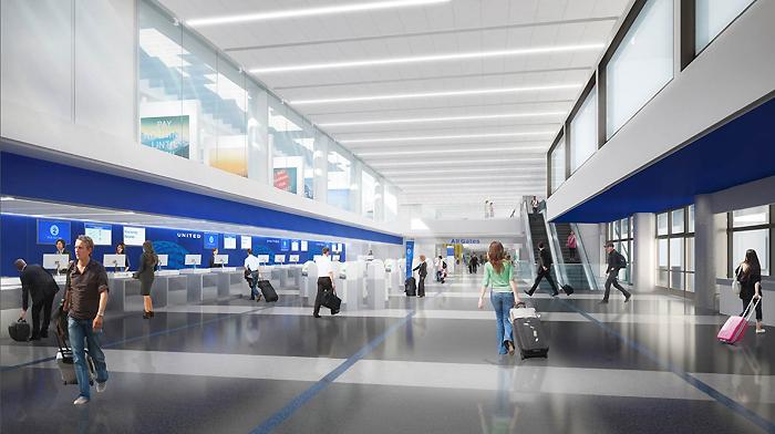 ユナイテッド航空の発券カウンター前の完成予想図(写真=ユナイテッド航空提供)