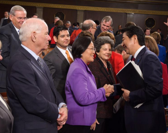 Sen. Mazie Hirono tweeted this photo of her shaking hands with Prime Minister Shinzo Abe, who became the first Japanese premier to address a joint session of Congress.