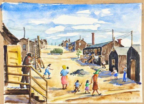 Paintings of camp life at Heart Mountain by the late Estelle Ishigo are part of the Eaton collection.