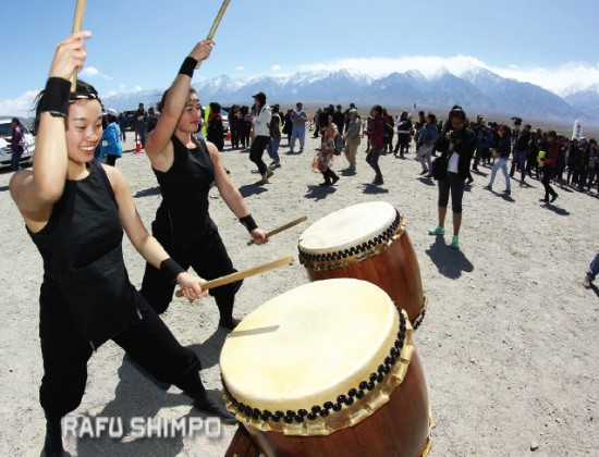 Members of UCLA's Kyodo Taiko keep the beat during the group ondo.