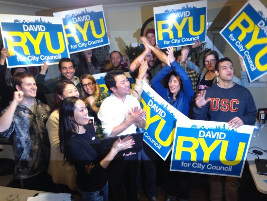 David Ryu (center) at a campaign rally with some of his young supporters.