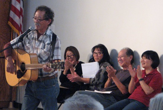 Sansei Stories participants who read/performed their works during the Second Sunday Jam Session on April 12 included (from left) Kei Sakita, Janet Mitsui Brown, Kathryn Endo-Roberts, Nick Nagatani and Yoshie Sakai.