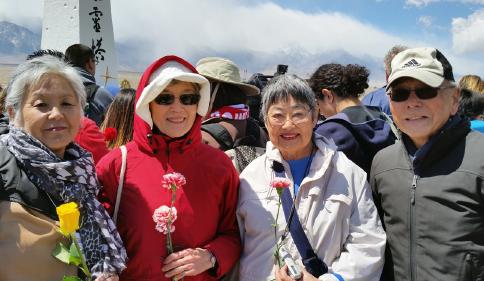From left: Satsuki Ina, Marion Shigekuni, Sumi Yamaguchi and Phil Shigekuni at the Manzanar Pilgrimage on April 25.