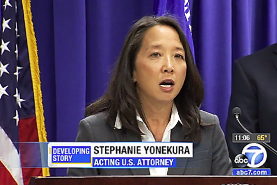 Acting U.S. Attorney Stephanie Yonekura in an image from ABC 7.