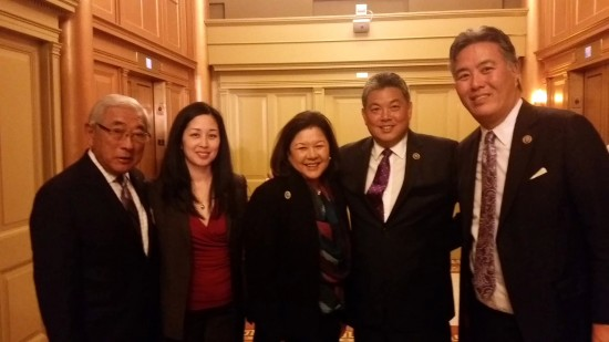 Among those attending Prime Minister Shinzo Abe's address to Congress were (from right) Reps. Mark Takano (D-Riverside) and Mark Takai (D-Hawaii); Irene Hirano Inouye of the U.S.-Japan Council; Melissa Unemori Hampe of McAllister & Quinn, former legislative director for Sen. Daniel Akaka (D-Hawaii) and press secretary for Rep. Patsy Takemoto Mink (D-Hawaii); and Floyd Mori of the Asian Pacific American Institute for Congressional Studies, former president of JACL.