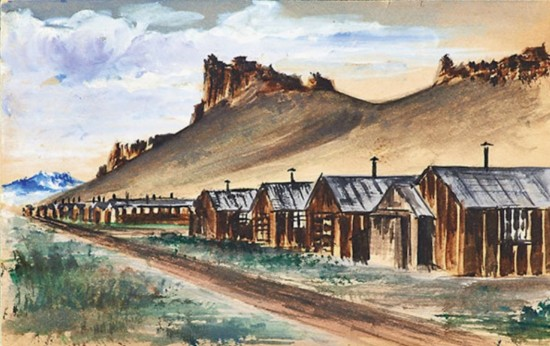 A watercolor of Tule Lake by an unknown artist from the Allen Eaton collection.