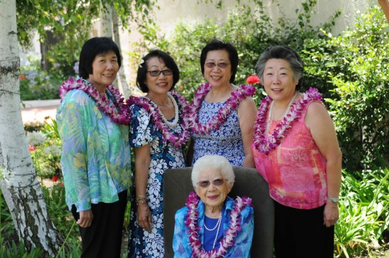 Fumiko Yuge and her four daughters, from left: Carolyn Yuge, Nadine Ishizu, Joyce Yuge and Cindy Yuge. Fumiko Yuge turned 100 on June 16, 2014; a party was held for her the day before at Brookside Clubhouse in Pasadena with 110 guests.