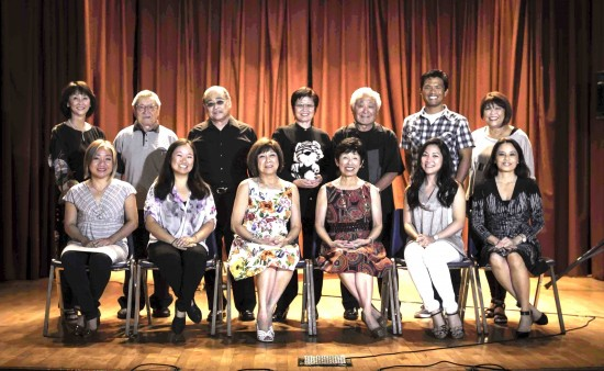 Participants in last year's recital. Front row, from left: Katherine Koyanagi (flute), Keri Kaba-Dien, Masako Nakane, Sumi Yata, Jun Uehara, Helen H. Ota. Back row, from left: Sharon Saka, Tad Tonokawa, Allan Shigemitsu, Lisa Joe, Tom Ishimine, Michael C. Palma, Vickie Tani (who assisted Joe at the piano).