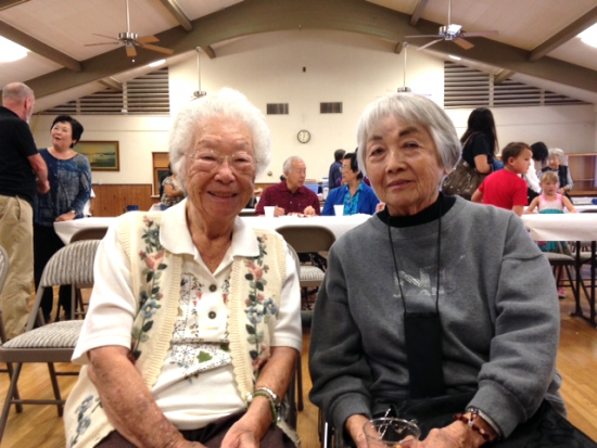 Friends Umeko Kawamoto, former Sun Café waitress, and Umeko Ruth Voorhies, whose father owned a pool hall in San Diego's Japantown. Both were interviewed for the Sun Café project. (Photo courtesy of Nancy Martinez)