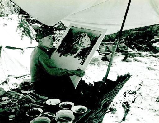 Chiura Obata was known for his landscape paintings of Yosemite Valley and the Eastern Sierra. (Photo by Cedric Wright)